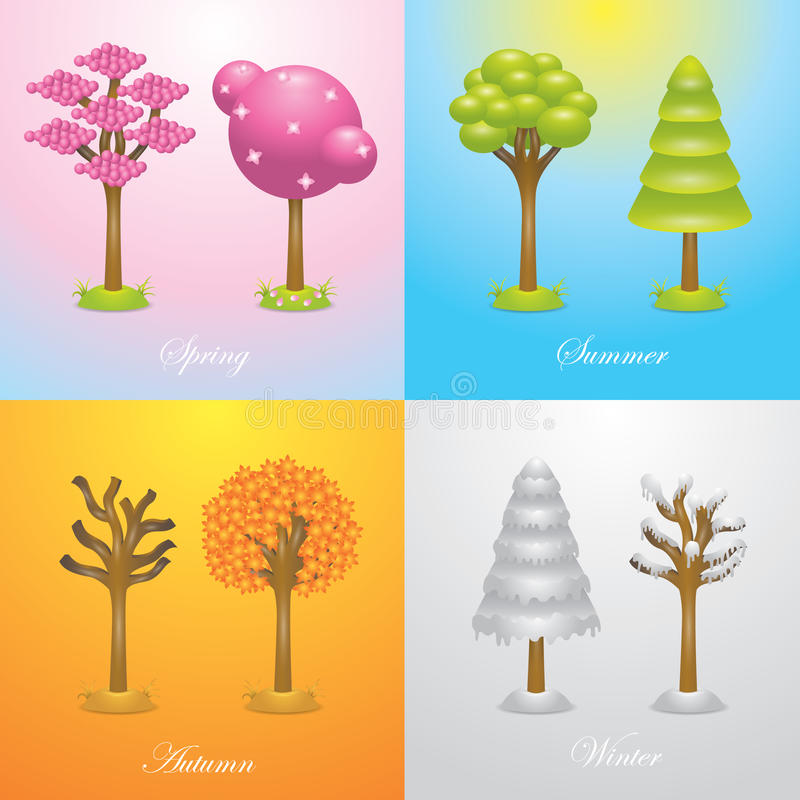 Tree icon of four season stock vector. Illustration of winter ...