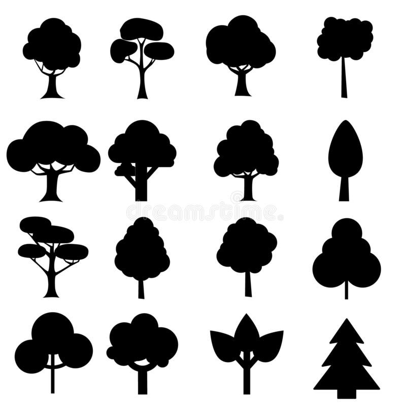 Tree icon set. Plants with leafs silhouettes. Forest and garden symbol. Vector illustration. stock illustration