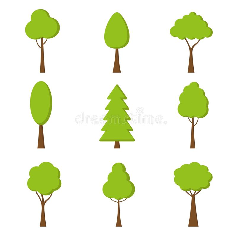 Tree icon. Vector. Nature symbol in flat design. Green forest plants. Collection of design elements. stock illustration