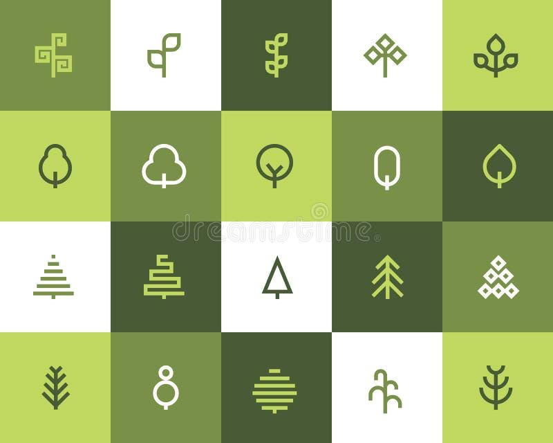 Tree icons. Flat style. Tree icons set. Flat style royalty free illustration