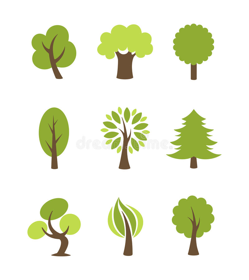 Tree Icons Set Stock Vector. Illustration Of Illustration
