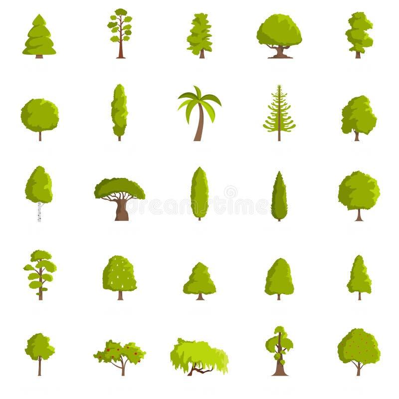Tree icons set, flat style. Tree icons set. Flat illustration of 25 tree vector icons isolated on white background royalty free illustration