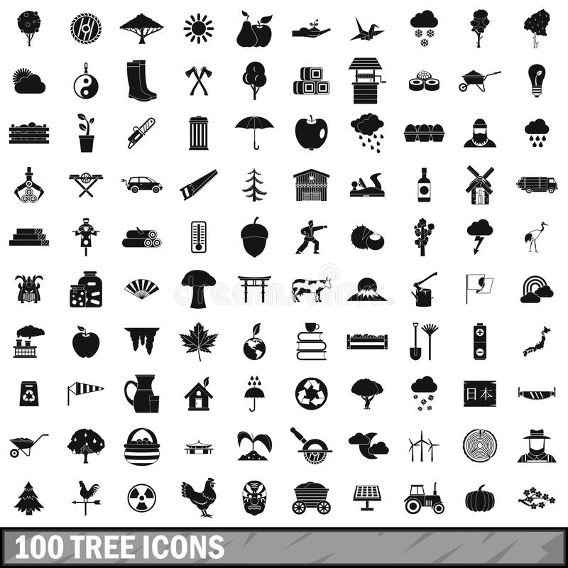 100 tree icons set, simple style royalty free illustration