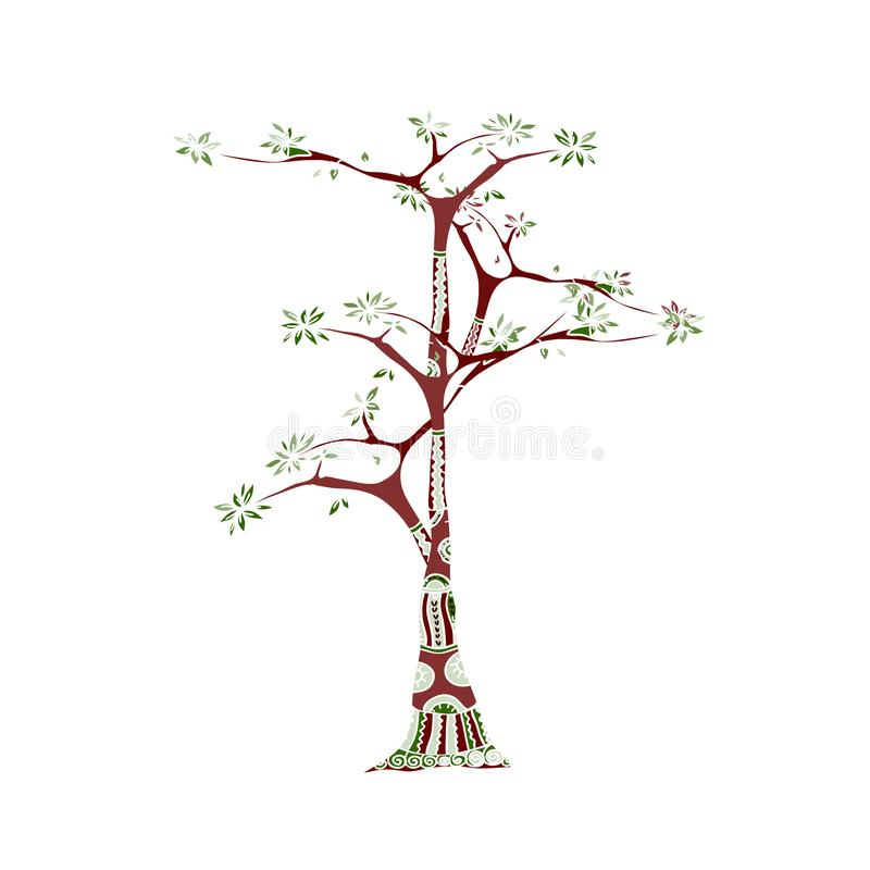 Tree illustration in ethnic style. Doodle colorful tree-trunk vector illustration
