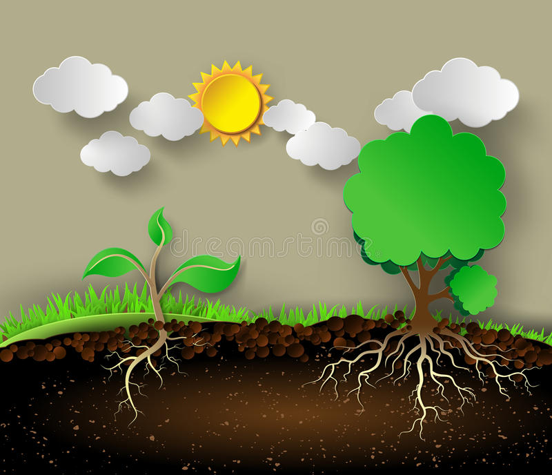 Tree illustration with green leaves and roots. royalty free illustration