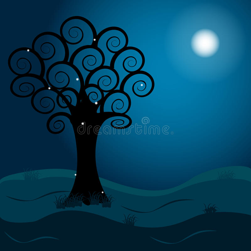 Download Tree stock vector. Image of glowworm, illustration, silhouette - 83712108