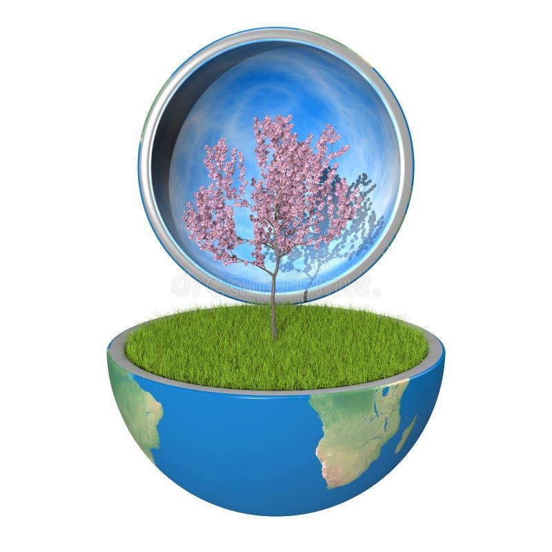 Tree inside planet vector illustration
