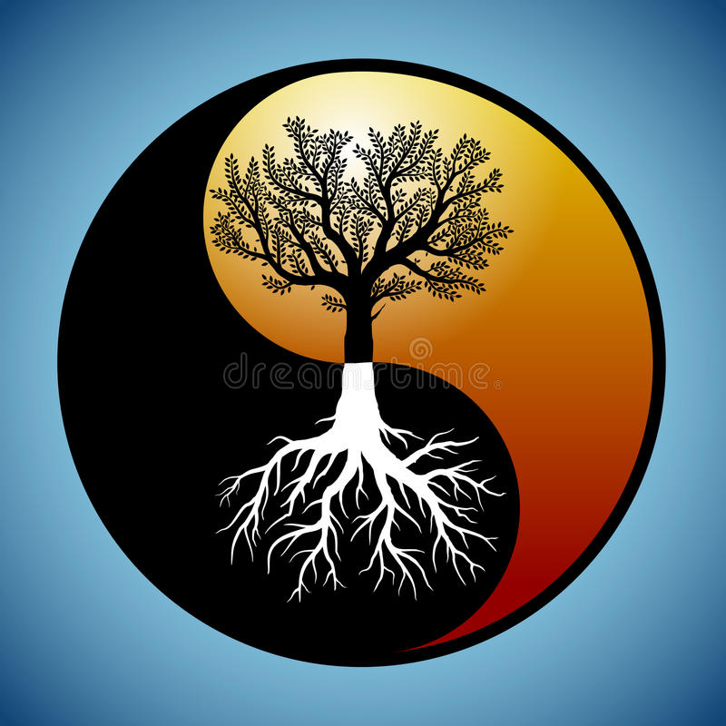 Tree and its roots in yin yang symbol. Tree and its roots silhouette in modified yin yang symbol stock illustration