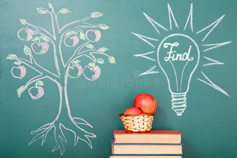 Tree of knowledge. Funny education find kids concept stock illustration