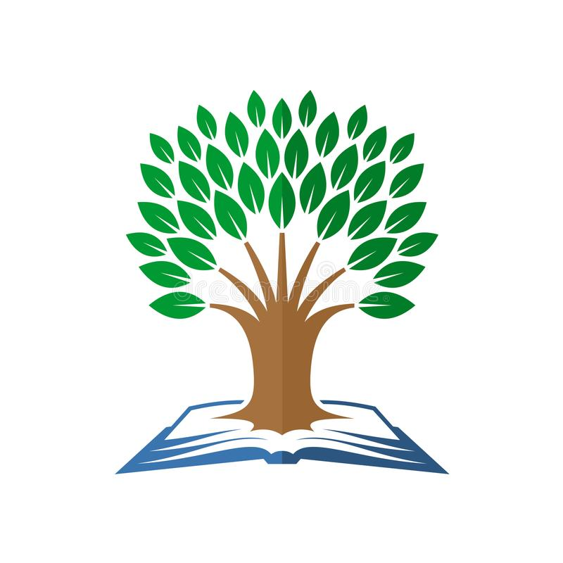 Tree of knowledge logo. Open book and tree. Tree of knowledge logo. Open book with tree grows up symbol vector illustration