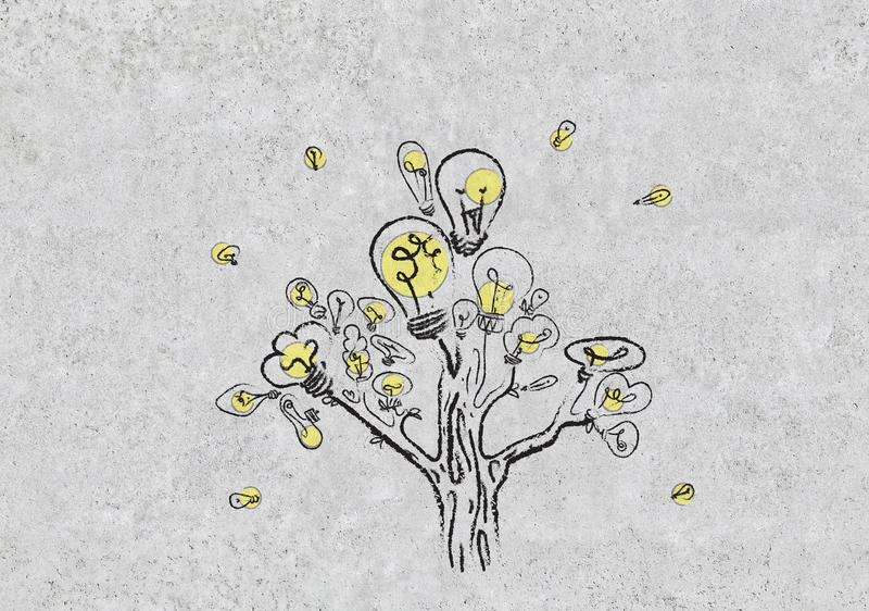 Download Tree With Lamp Drawing On Wall Stock Illustration   Illustration  Of Lamp, Environment: