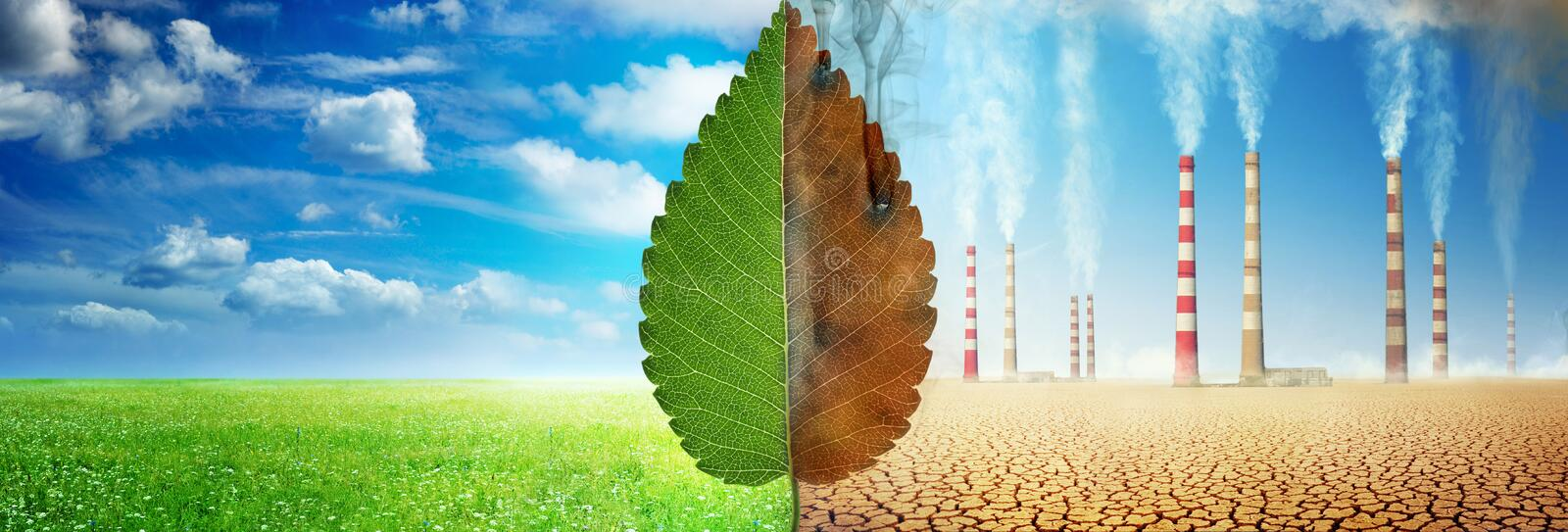 A tree leaf on a background of grass and clouds versus a withered leaf on a background of a dead desert with Smoking chimneys of stock photos