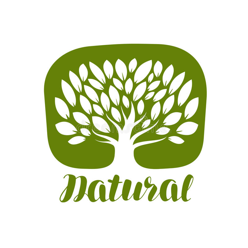 Tree with leaves label or logo. Natural, organic icon. Lettering vector illustration royalty free illustration