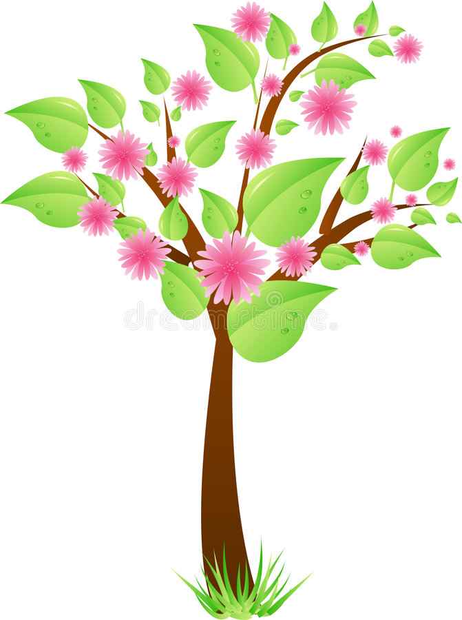 Tree with leaves and pink flowers royalty free illustration
