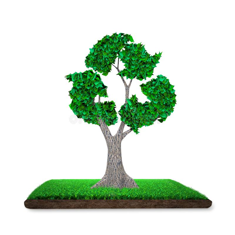 Tree with leaves in recycling symbol, grass land, 3D illustration stock illustration