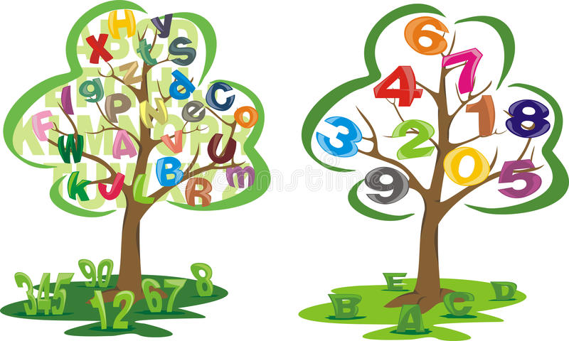 Tree with letters and numbers vector illustration