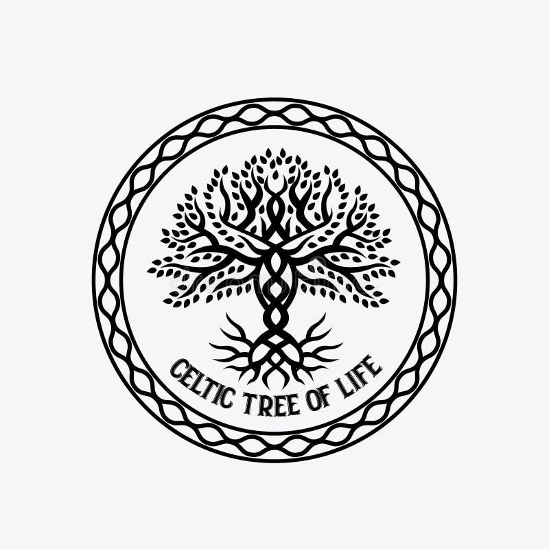 Tree of life. Circle of celtic tree of life black sign royalty free illustration