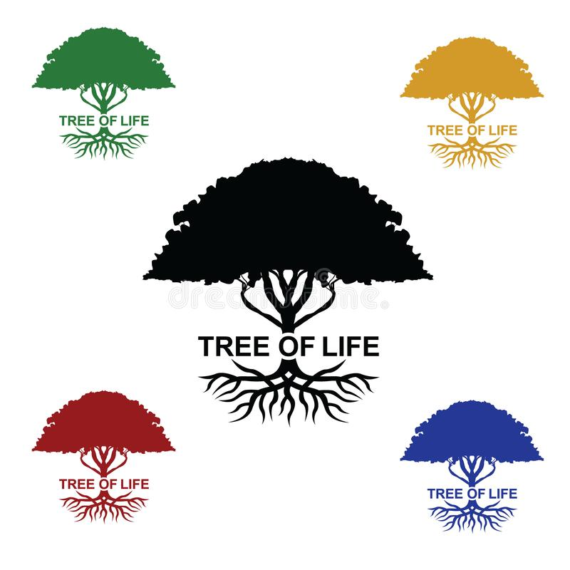 Tree of life colours. Set of colour tree of life celtic vector illustration