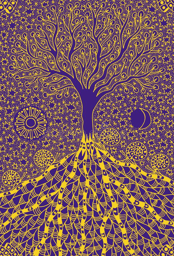 The tree of life. Graphic art symbolic picture. Symbol, metaphor of life and growth. vector illustration