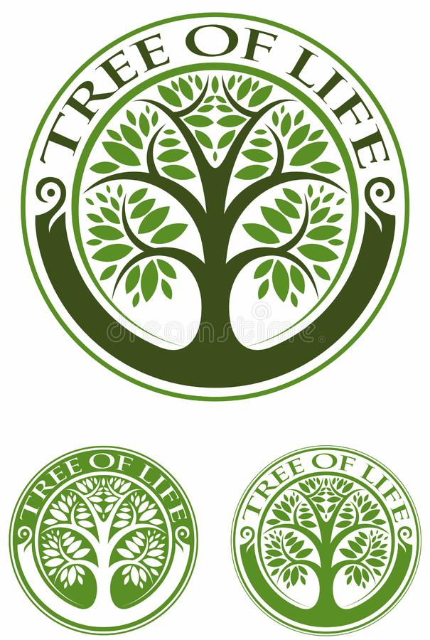 Tree of life, tree with the green leaves, vector logo. royalty free illustration