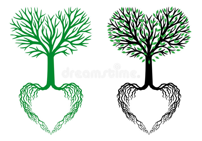Tree of life, heart tree, vector. Tree of life, heart shaped branches and roots, vector illustration stock illustration