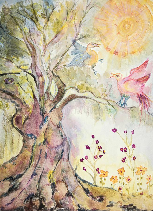 Tree of life with playing doves. The dabbing technique near the edges gives a soft focus effect due to the altered surface roughness of the paper royalty free stock photo