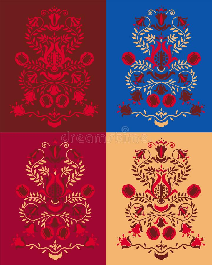 The tree of life Pomegranate in different colors stock illustration