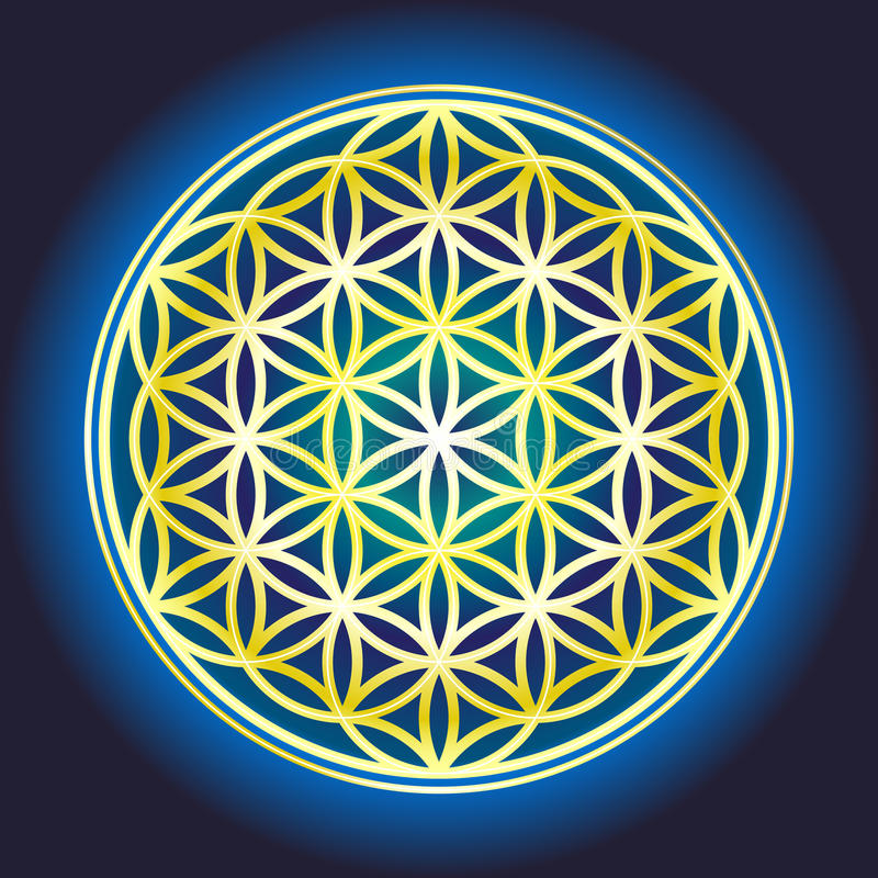 The Tree Of Life_2. Sacred geometry, Flower of life symbol variations royalty free illustration