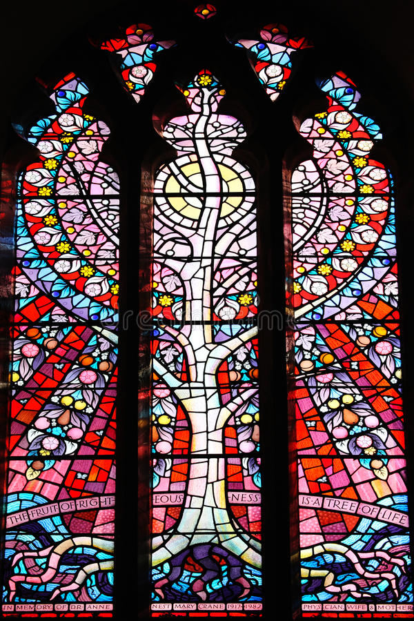 Tree of Life stained glass window. At St Peter's Church Carmarthen, Wales royalty free stock photo