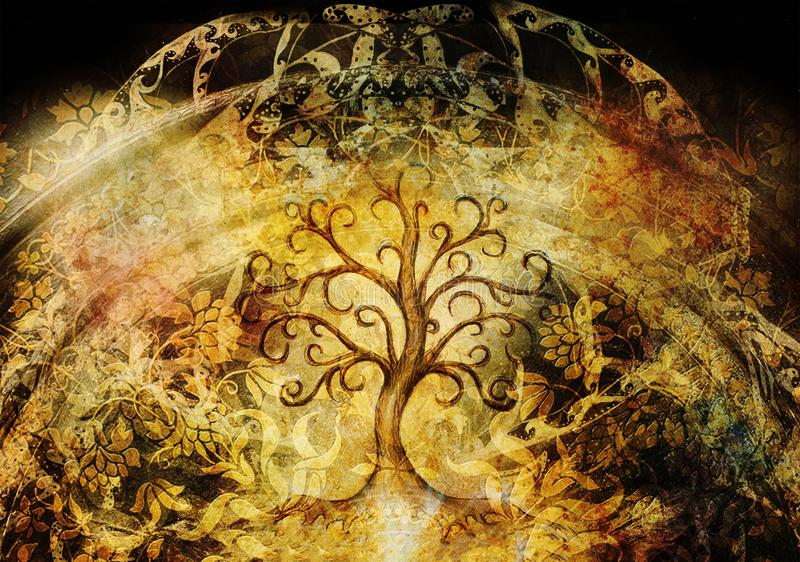 Tree of life symbol on structured background, yggdrasil. royalty free stock images