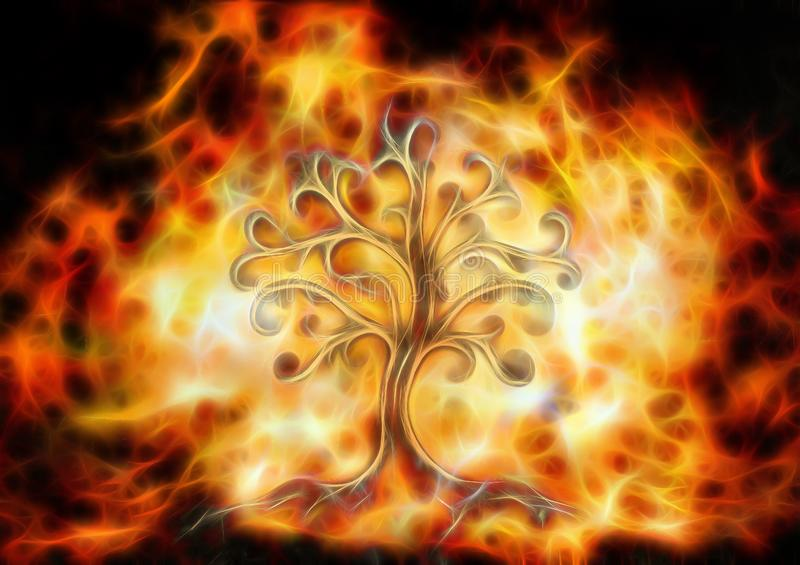 Tree of life symbol on structured ornamental background, yggdrasil. Fractal effect. stock images