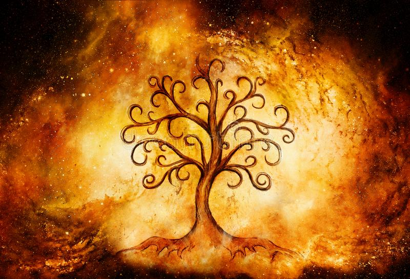 Tree of life symbol on structured and space background, yggdrasil. royalty free stock photography