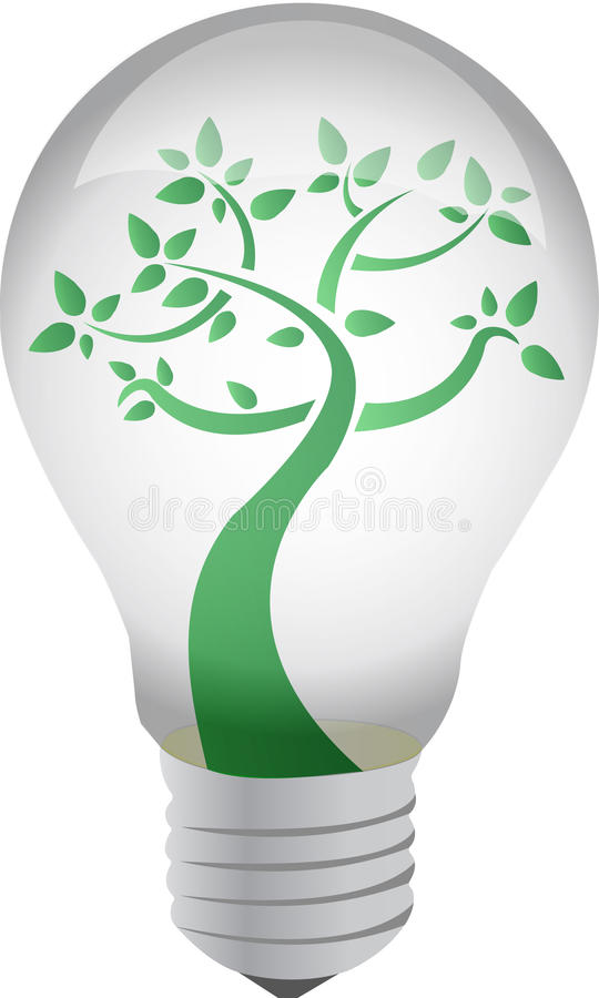 Download Tree In A Light Bulb Isolated On White Concept Stock Illustration - Image: 20452547