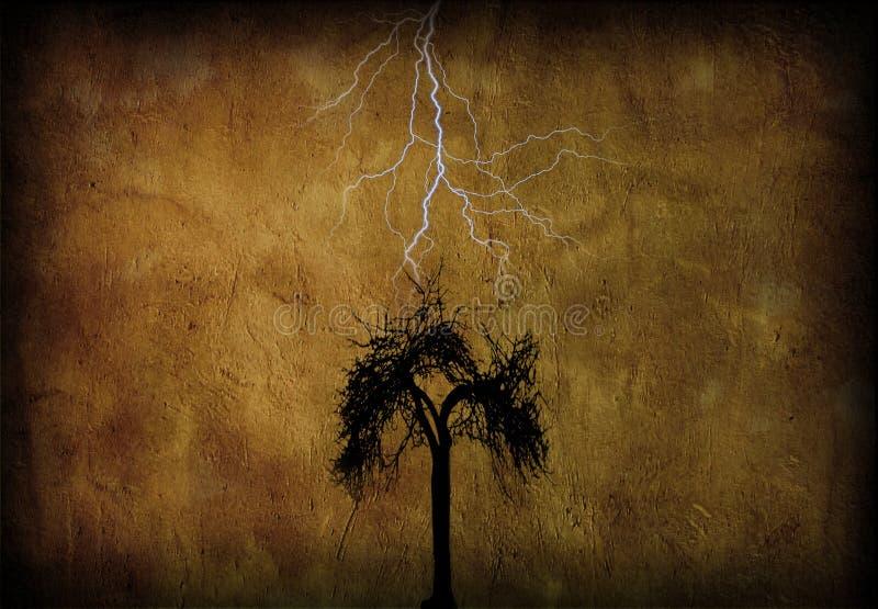 Tree with lighting stock illustration