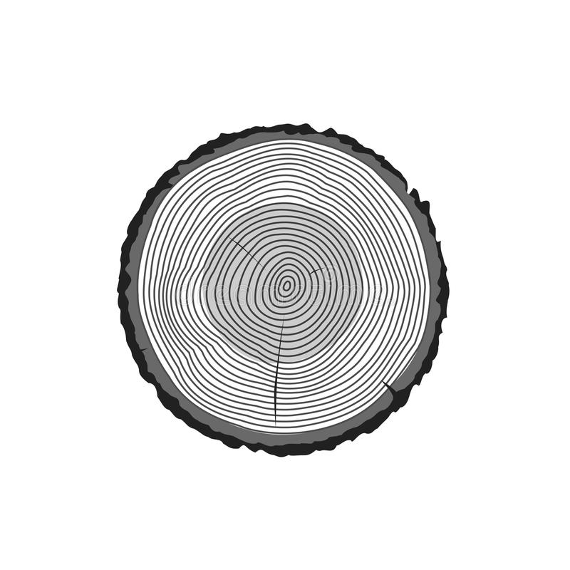 Tree log rings vector icon, tree wooden cross section black texture isolated, wood timber cut. On white background stock illustration