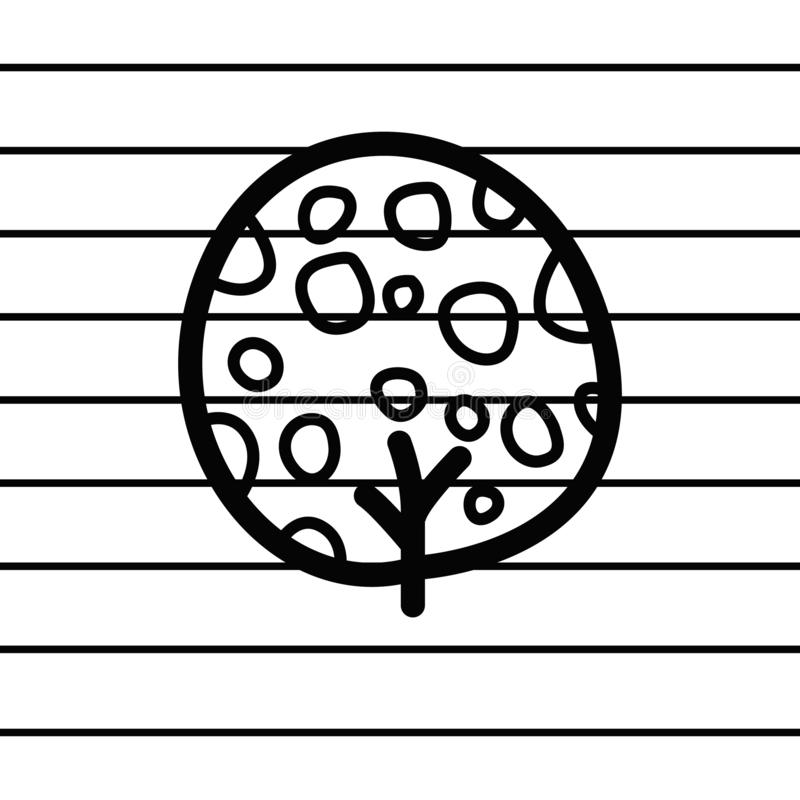 Tree logo in cartoon images on paper. can be applied to various media either paper or plastic. This tree logo can also be used fo. R various industries and royalty free illustration