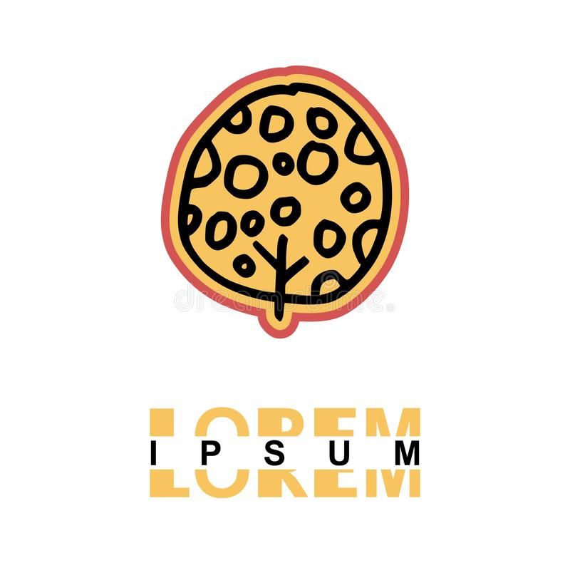 Tree logo in cartoon images on paper. can be applied to various media either paper or plastic. This tree logo with orange and pin. K lines can be used for stock illustration