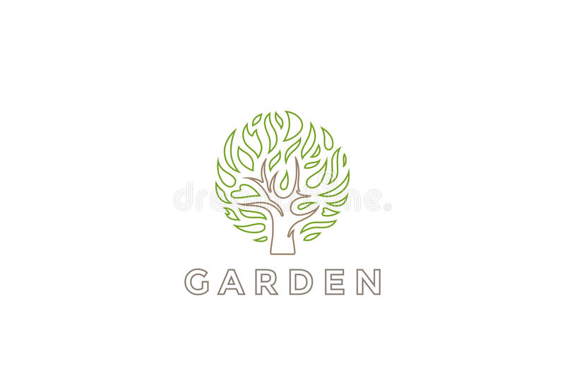 Tree Logo circle shape design vector template. Organic Natural Plant Garden Logotype concept icon. Tree Logo circle shape design vector template. Organic royalty free illustration