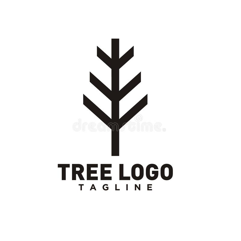 Tree logo design or tree symbol, icon for nature business royalty free illustration