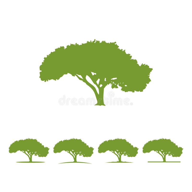 Tree logo illustration Vector silhouette. Set with ground options realistic look royalty free illustration