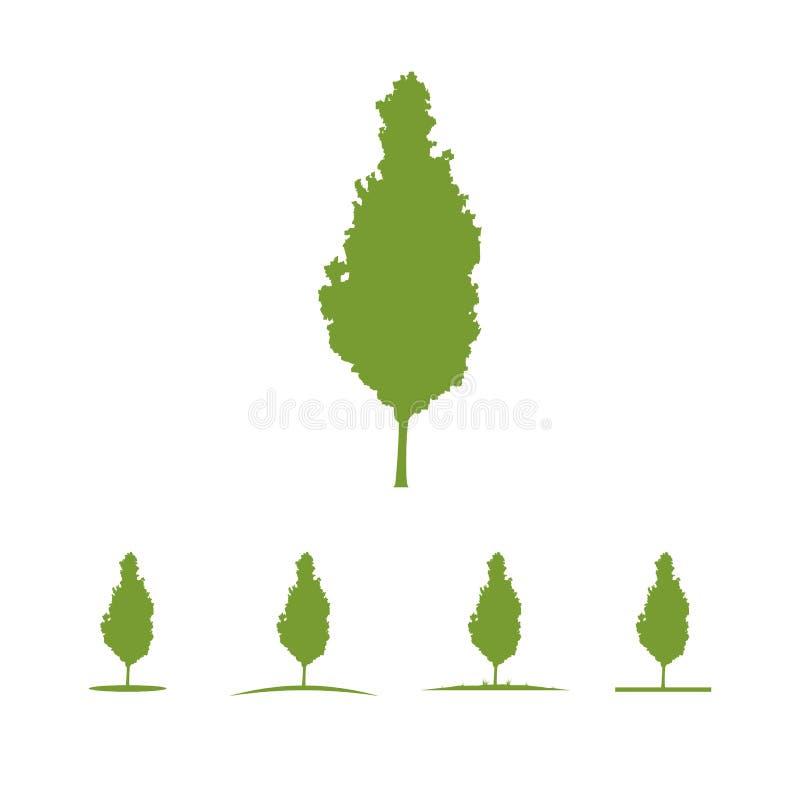Tree logo illustration Vector silhouette royalty free illustration