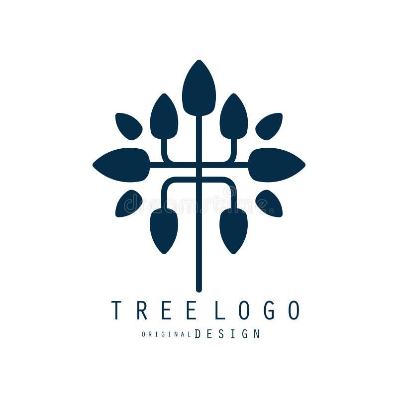 Tree logo original design, blue eco bio badge, abstract organic element vector illustration stock illustration