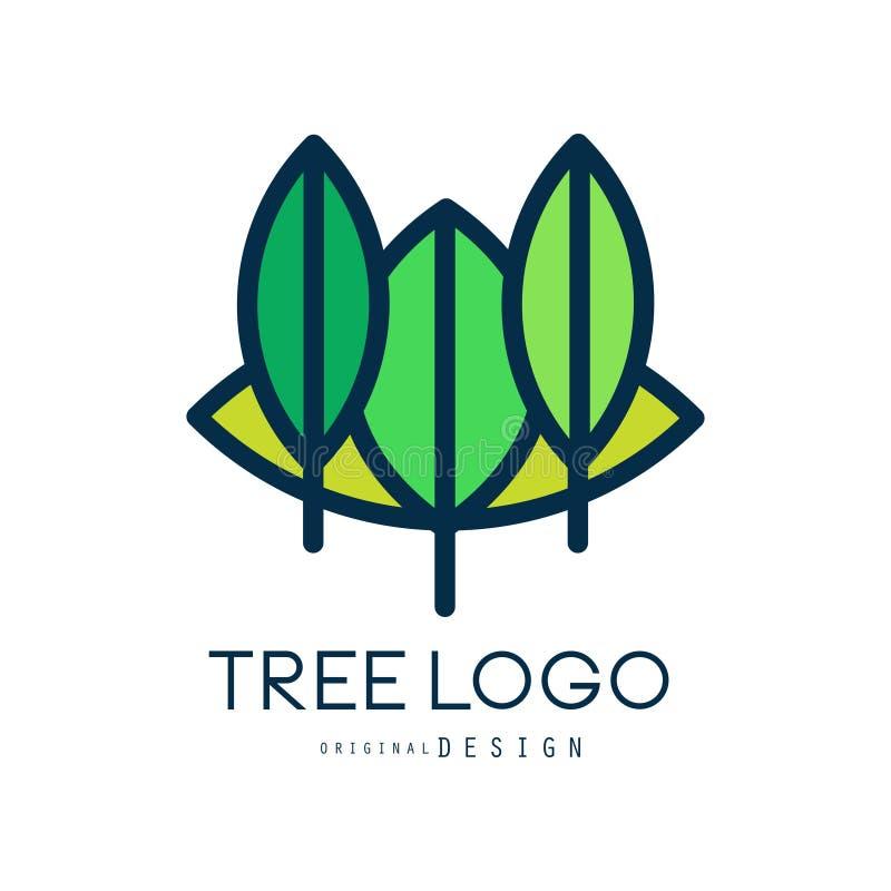 Tree logo original design, eco bio badge, abstract organic element vector illustration stock illustration