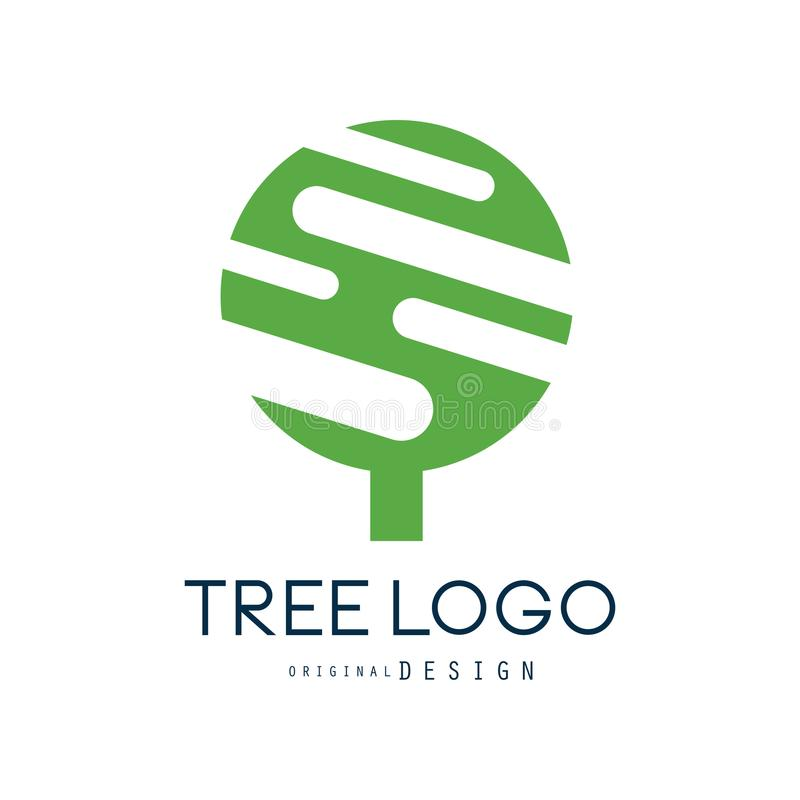 Tree logo original design, green eco badge, abstract organic design element vector illustration stock illustration