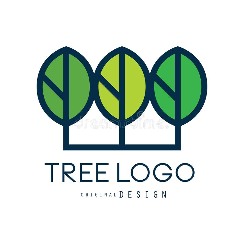 Tree logo original design, green eco badge, abstract organic element vector illustration. Isolated on a white background stock illustration