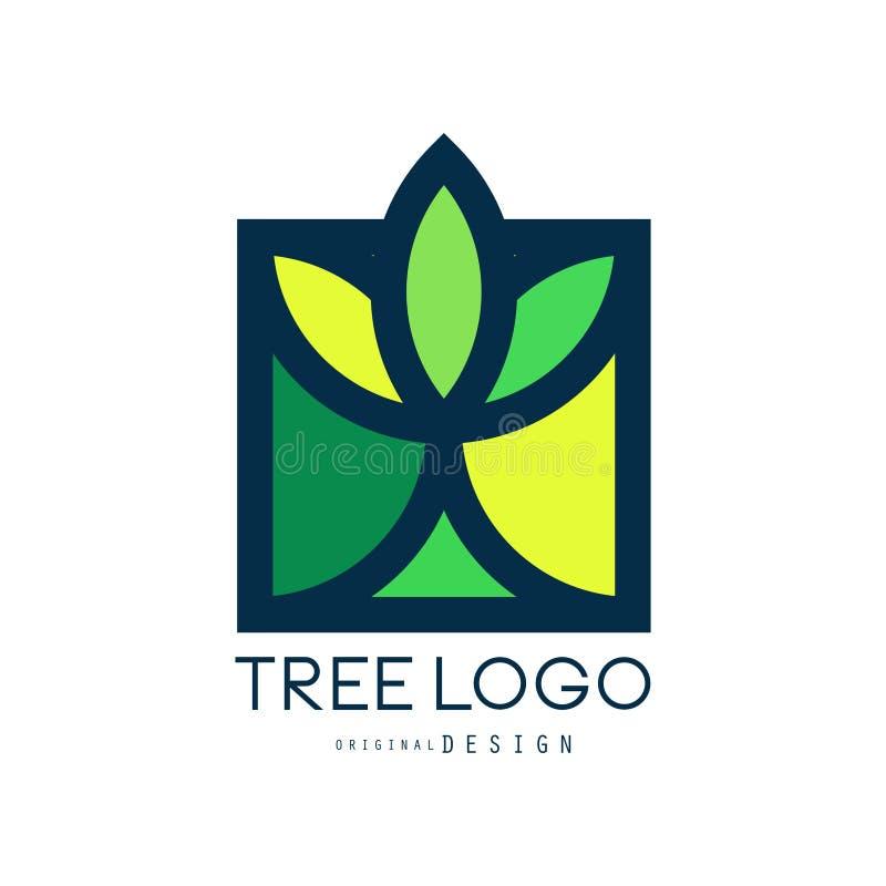 Tree logo original design, green eco bio badge, abstract organic element vector illustration royalty free illustration