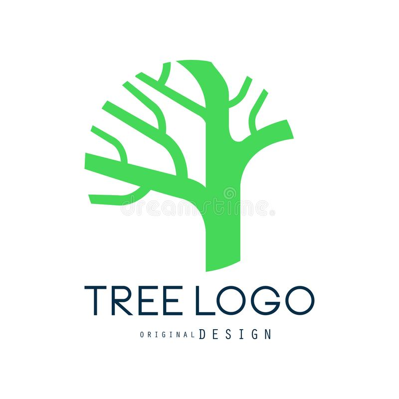 Tree logo original design, green eco bio badge, abstract organic element vector illustration stock illustration