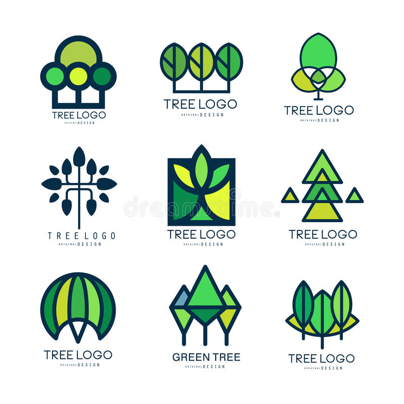 Tree logo original design set of vector Illustrations in green colors royalty free illustration