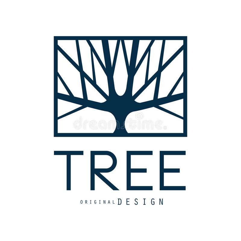 Tree logo template original design, blue eco badge, abstract organic element vector illustration. Isolated on a white background royalty free illustration