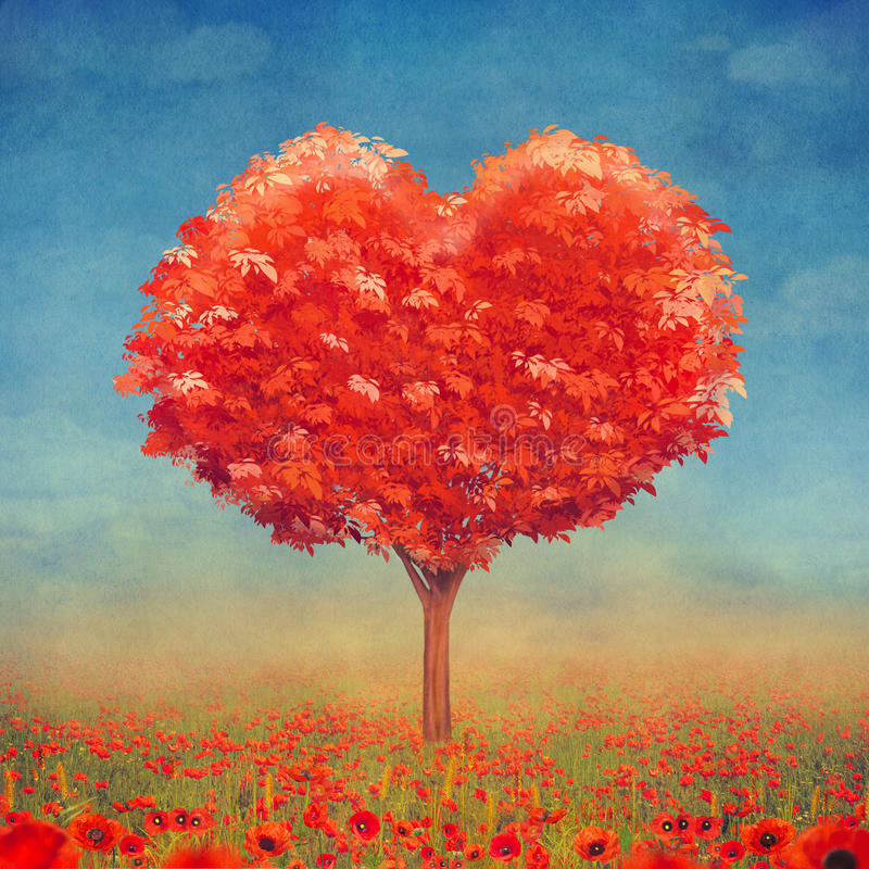 Tree of love in field, valentines day background stock illustration